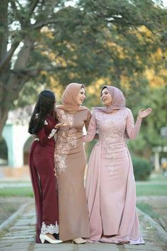 best friend wedding  so they look amazing with ther dresses which seem so identical to each other... The different between the three dresses is the colour