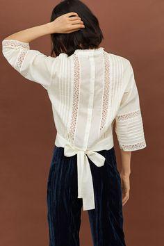 Blouse en coton avec dentelle - Blanc - FEMME | H&M FR 1