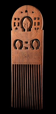 Africa | Comb from the Ashanti people of Ghana | Wood.  H:  35 cm