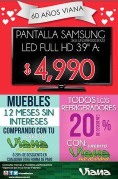 Viana: Ofertas en Pantallas, Colchones y Más Viana cuenta con muy buenas ofertas y promociones para que las aproveches este fin de semana: -Pantalla de 39 pulgadas marca Samsung $4,990. (Valido19 de febrero) -12 MSI en Muebles con crédito Viana ó 20% de descuento con cualquier otra forma de pag... -> http://www.cuponofertas.com.mx/oferta/viana-ofertas-en-pantallas-colchones-y-mas/
