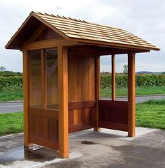 bus shelter wood | 30 degree, pitched roof shelter, with gabled ends (only