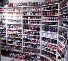 Niall has a shoe obsession.I have a shoe obsession. Sneaker Storage, Shoe Storage, Shoe Racks, Clothes Storage, Shoe Room, Shoe Closet, Closet Bedroom, Closet Tour, Closet Space