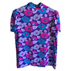 70's Floral Mock Neck shirt blouse short sleeve slinky shirt purple lavender turquoise womens vintage puff ruffled sleeve super rad festival by VELVETMETALVINTAGE on Etsy