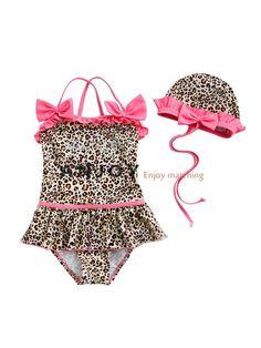 d00463975e New 2015 Baby Swimsuit Infant Girls Toddler Swimwear Kids Bathing Suit One- Piece Leopard Bikini + hat biquini infantil Costume