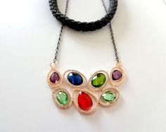 κωδικός (code) - 30 πράσινο - σμαραγδί - κόκκινο της φωτιάς - μωβ - μπλε ... ένας μοναδικός συνδυασμός χρωμάτων.. an-dorablelfieJWLS ------- blue, purple, green, red beads for this lovely statement necklace https://el-gr.facebook.com/pages/MyAndorableLife/111119679052345