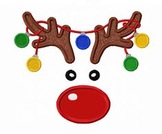 Instant Download Christmas Reindeer With Ornament  Applique Machine Embroidery Design NO:1393 on Etsy, $2.99