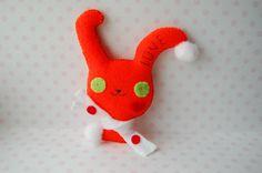orange kawaii Christmas bunny felt stuffed toy plush by Mielamiela, $7.50