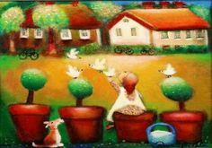 The illustrations of Raija Nokkala Funny Art, Cute Pictures, Painting, Postcards, Illustrations, Painting Art, Illustration, Paintings, Painted Canvas