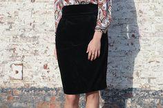 Velvet vintage winter skirt vintage pencil skirt