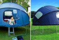 This Trampoline Tent clips onto the edge of a circular trampoline, converting it into a tent or backyard playhouse for kids.