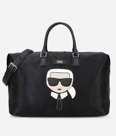 Karl Lagerfeld Travel Duffle Weekend Shoulder Bag K/ikonik In Nero Karl Lagerfeld Taschen, Karl Lagerfeld Handbags, Karl Lagerfeld Men, Weekender, Nylons, Trolley Bags, Cute Purses, Fashion Bags, Shoulder Bag