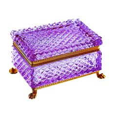 Vintage Czech Bohemian Moser Alexandrite Neodymium art glass casket, box with hinged lid, Shop Rubylane.com