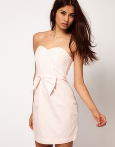 Strapless Dress with Bow Front - Lyst