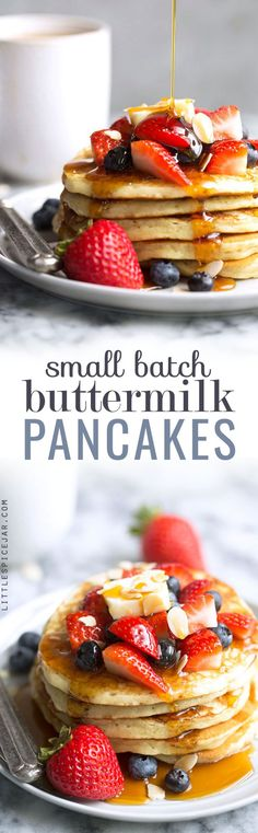 Small Batch Buttermilk Pancakes - Learn how to make a small batch of pancakes for just 2-3 people! These pancake are amazing! #smallbatchpancakes #buttermilkpancakes #pancakes | Littlespicejar.com