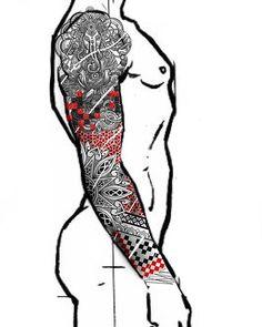 Ideas for tattoo mandala geometric full sleeves Buddhist Symbol Tattoos, Sanskrit Tattoo, Hindu Tattoos, Japanese Sleeve Tattoos, Full Sleeve Tattoos, Trendy Tattoos, Tattoos For Guys, Body Art Tattoos, Tribal Tattoos