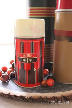 Vintage Thermos Fall Centerpiece