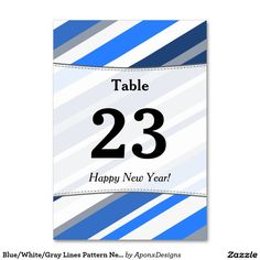 Blue/White/Gray Lines Pattern New Year Table Card - New Year's Eve happy new year designs party celebration Saint Sylvester's Day New Year Table, Happy New Year Design, Order Of Operations, Math Notebooks, Math Fractions, Common Core Math, First Grade Math, New Year Card, Line Patterns