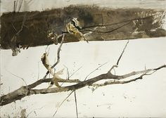 ''Branch in the Snow '' 1980 by Andrew Wyeth (American, 1917–2009) Works on Paper (Drawings, Watercolors etc.) style:Contemporary Realism