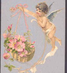 BRUNDAGE WINSCH....VALENTINE'S DAY CUPID DELIVERS BASKET OF WILD ROSES,POSTCARD