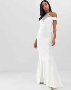 8170957f005 City Goddess bridal off shoulder fishtail maxi dress with embellished  detail  bridal shoulder