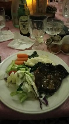 Connie's daughter's wedding. Ribeye, Spinach, mash potatoes mmmm