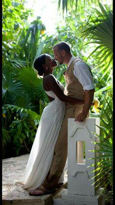 Gorgeous interracial couple beach wedding photography #love #wmbw #bwwm