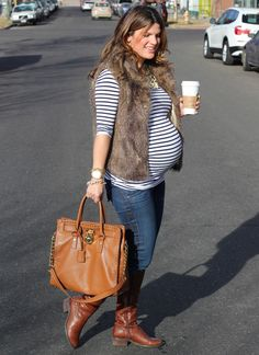 Stripes & faux fur maternity outfit.