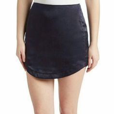 Honey Punch Asymmetrical Skirt Deep sea blue mini from honey punch. Size m, but on the smaller side-- would fit 2-4. Brand new, never worn, and oh so soft and silky. Honey Punch Skirts Mini