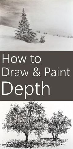 Drawing Doodle 15 techniques to add depth to a painting. How to create the illusion of depth when painting or drawing on a surface. Including tree drawing and sketching examples with pen and ink. Painting & Drawing, Painting Lessons, Painting Tips, Drawing Lessons, Drawing Drawing, Painting Flowers, Abstract Paintings, Drawing Sketches, Art Drawings