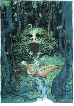 """This is intriguing, frightening and appealing all at the same time.  Charles Vess """"A Dream of Apples"""""""