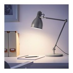 IKEA - ARÖD, Work lamp with LED bulb, You can easily direct the light where you want it because the lamp arm and head are adjustable.Provides a directed light that is great for reading. Basement Guest Rooms, Upstairs Bedroom, Guest Room Office, Work Lamp, Bedside Lamp, Cool Lighting, My Room, Home Buying, Sconces