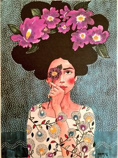 Uploaded by ysm. Find images and videos about girl, art and flowers on We Heart It - the app to get lost in what you love. Gravure Illustration, Illustration Art, Frida Art, Arte Pop, Jolie Photo, Portrait Art, Portraits, Love Art, Female Art
