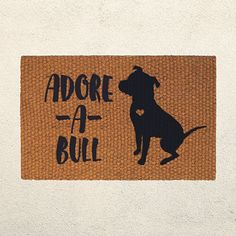 Pitbull lovers rejoice! A doormat that shows off your affection for your furry friend AND benefits a local pitbull rescue!  Adore-a-bull Doormat, Welcome Doormat,  Pit Bull Art, Dog Lover Gift, Custom Door Mat, Outdoor Rug, Dog Rescue, Dog Decor, Animal Rescue
