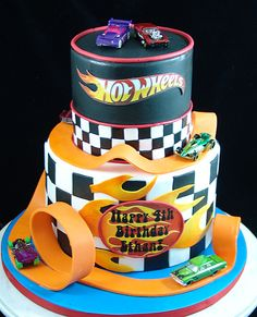 Hot wheels race car birthday cake