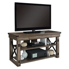 Altra Wildwood Rustic Grey TV Console with Metal Frame for TVs up to 50 inch, Gray