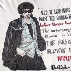 "Bob Dylan T-shirt Shirt Tshirt ""Blowin in the wind"" Quotes Tee Top Tシャツ Painting 3D Pop Rock"