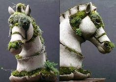 Sculptures of concrete and moss by Robert Cannon. You have to see the rest of them! http://www.archithings.net/amazing-moss-and-concrete-sculptures-designed-by-robert-cannon