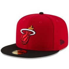 online store 6eaf2 d4ff0 Miami Heat New Era Official Team Color 2Tone 59FIFTY Fitted Hat - Red Black