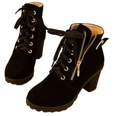 Hee Grand Women Thick Platform Heels Lace Up Boots from Amazon