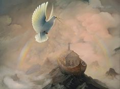 """Contact us for purchase inquires The Promise is currently on display at the Museum of Biblical Art in Dallas, TX. In this painting, Victor Bregeda focuses on the covenant made by God with Noah and mankind, as presented in the Book of Genesis. """"…the ark came to rest on the mountains of Ararat. …(Noah) sent out …"""