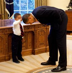 An awesome picture of President Obama being adorable