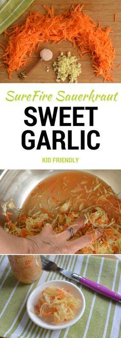 Sauerkraut recipe. Sweetness of carrots contrasts with sharpness of garlic. Children love the flavor. PDF Recipe - Gourmet Pairing Options.