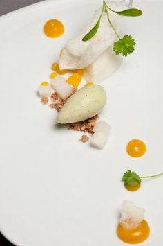 kaffir lime yogurt with asian pears, mango pearls, rice puffs, white chocolate feuilletine, and rau ram-lime sorbet by pastry chef john park of lukshon - los angeles, ca
