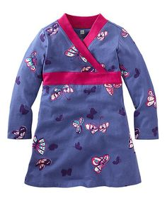 Look at this #zulilyfind! Blue & Fuchsia Butterfly Dress - Infant, Toddler & Girls #zulilyfinds