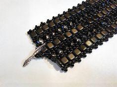 Jet Black Tile Beadwork Bracelet  Matte Black Tile Seed Bead