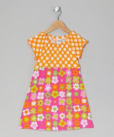Take a look at this Mango Punch Polka Dot Peasant Dress - Infant, Toddler & Girls by Bubble & Squeak on #zulily today!