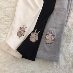 Cute Cartoon Totoro Cat Embroidery Cotton Leggings Black/White/Gray, only US$19.98