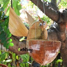 hand carved coconut shell husk owl hanging plant pot planter eco outdoor garden #HandmadebyEarthlyLiving