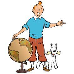 1956 ☀ Où Tintin voudra-t-il aller ? • Where will Tintin intend to go ? Dessin Géographie sur un petit cahier d'écolier offert par « Le timbre Tintin ». #tintin #herge