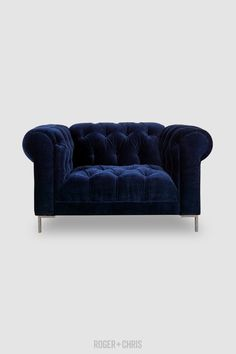 Blue velvet chair with tufted back and seat. Custom indigo blue velvet chair with modern metal legs from Chesterfield Armchair, Tufted Sofa, Velvet Furniture, Blue Furniture, Blue Velvet Chairs, Blue Sofas, Blue Corner Sofas, Cozy Studio Apartment, Tight Back Sofa